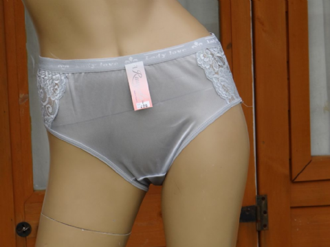 "GORGEOUS SILKY NYLON & LACE PANTIES - WAIST 24-38"" - #SHLK 1"